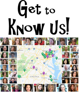 "small thumbnail photos of Read Local authors and illustrators surrounding a pinpoint map and with blocky text that says ""Get to Know Us!"""