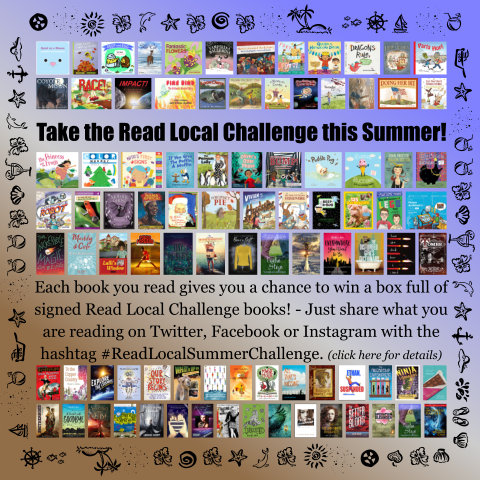 Summer-themed graphic with small thumbnail cover images of all 90 Read Local Summer Challenge Books - Click to learn more!