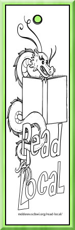Read Local Middle Grade Challenge bookmarks to color