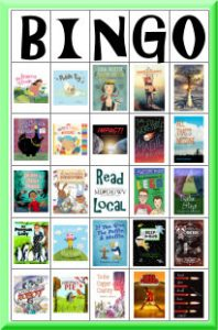 BINGO card with book covers from the Read Local 2018-19 Challenge