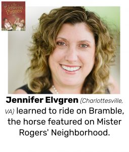 "Photo of Read Local Challenge 2019/20 author Jennifer Elvgren and small thumbnail of THE EDELWEISS PIRATES, with the text ""Jennifer Elvgren (Charlottesville, VA) learned to ride on Bramble, the horse featured on Mister Rogers' Neighborhood."""