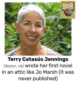 "Photo of Read Local Challenge 2019/20 author Terry Catasús Jennings and small thumbnail of SOUNDS OF THE SAVANNA, with the text ""Terry Catasús Jennings (Reston, VA) wrote her first novel in an attic like Jo Marsh (it was never published)"""
