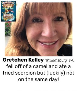 "Photo of Read Local Challenge 2019/20 author Gretchen Kelley and small thumbnail of SUPERHEROES DON'T EAT VEGGIE BURGERS, with the text ""Gretchen Kelley (Williamsburg, VA) fell off of a camel and ate a fried scorpion but (luckily) not on the same day!"""