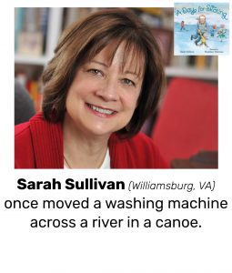 "Photo of Read Local Challenge 2019/20 author Sarah Sullivan and small thumbnail of A DAY FOR SKATING, with the text ""Sarah Sullivan (Williamsburg, VA) once moved a washing machine across a river in a canoe."""