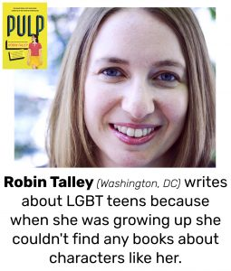 "Photo of Read Local Challenge 2019/20 author Robin Talley and small thumbnail of PULP, with the text ""Robin Talley (Washington, DC) writes about LGBT teens because when she was growing up she couldn't find any books about characters like her."""