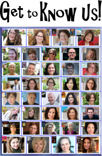 """small thumbnail photos of Read Local authors and illustrators with blocky text that says """"Get to Know Us!"""""""