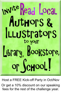 "Blocky text on a green background that reads ""Invite Read Local authors & illustrators to your library, bookstore, or school!"""