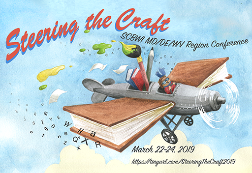 illustration of airplane with books for wings
