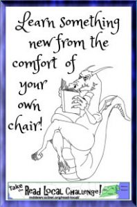 "Dragon reading a book, using his tail as a comfy chair, with the caption ""Learn something new from the comfort of your own chair! Take the Read Local Challenge"""