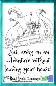 "Pirate mouse sailing on a boat made out of a book, with the caption ""Sail away on an adventure without leaving your house! Take the Read Local Challenge"""